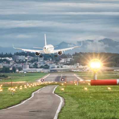 Airplane landing at Zurich airport Switzerland